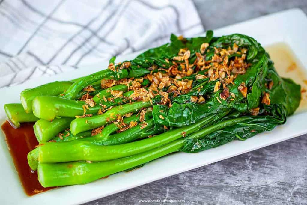 gai lan Chinese broccoli with oyster sauce and fried shallots