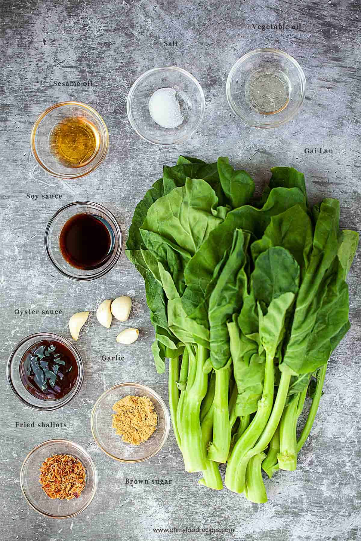 ingredients for Chinese broccoli with oyster sauce
