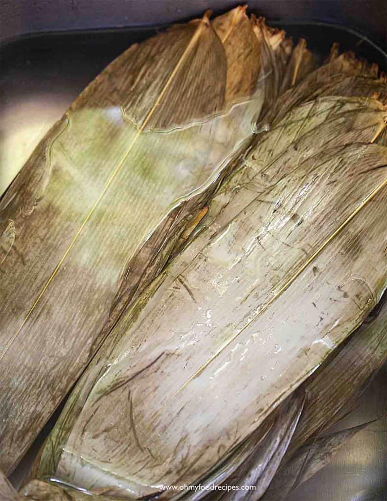 soaking bamboo leaves
