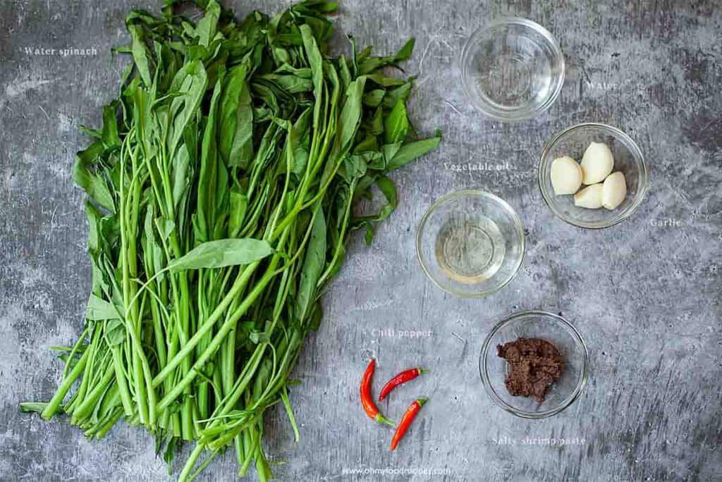 ong choy stir fry ingredients