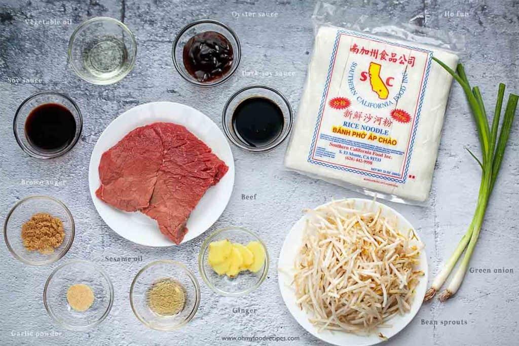 beef chow fun, gon chow ngau ho (乾炒牛河 ) ingredients