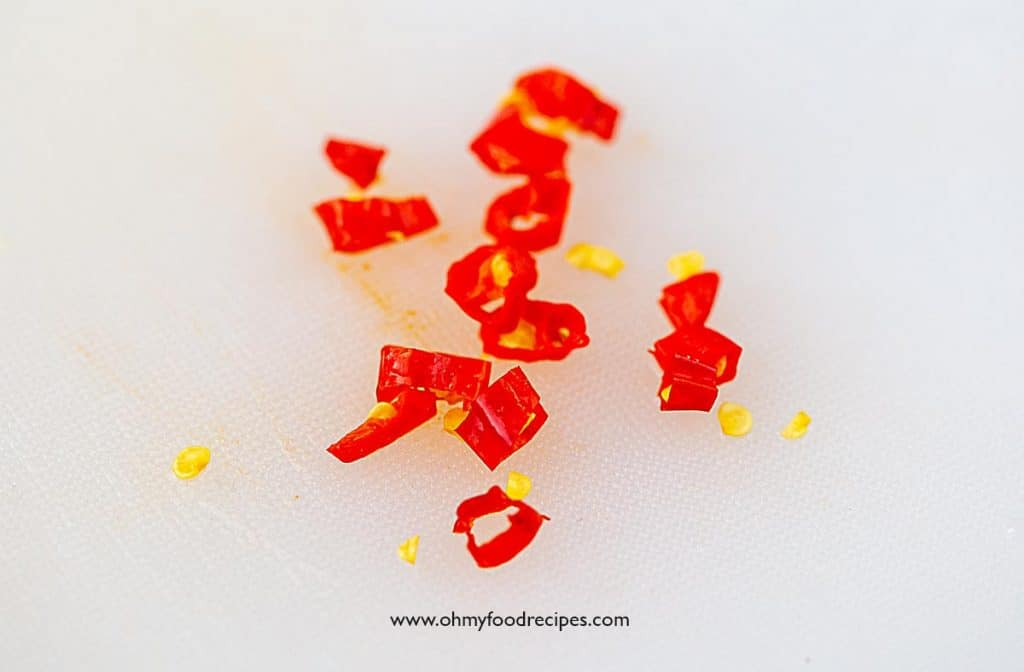 cut up chili peppers