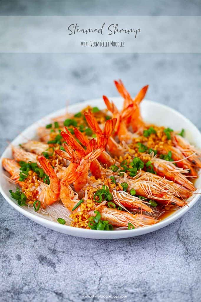 steamed garlic shrimp with vermicelli noodles with green onion