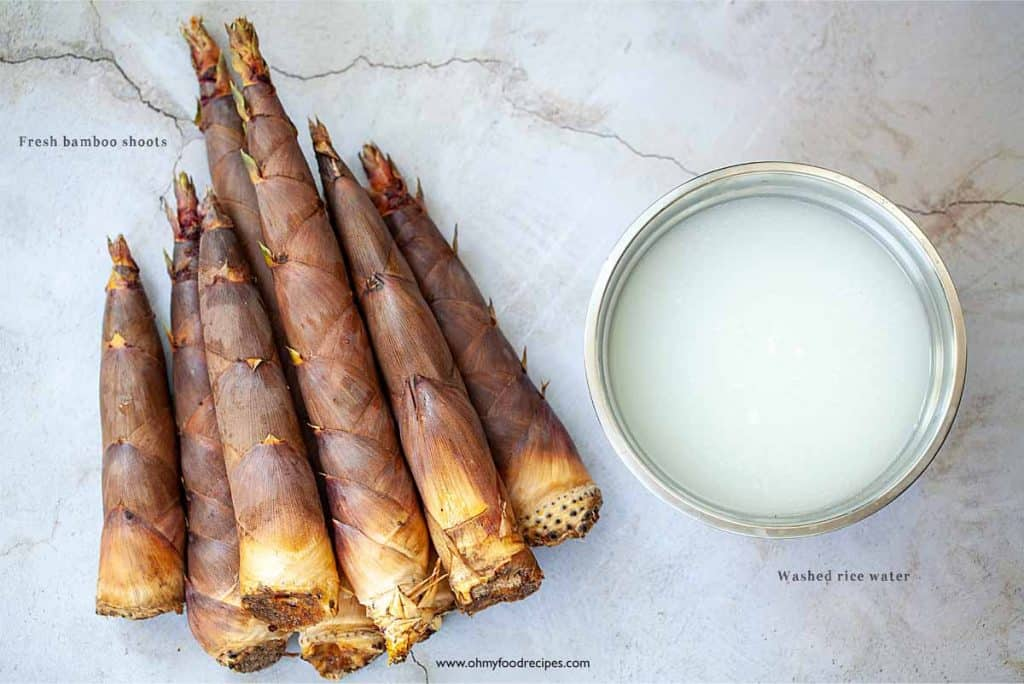 ingredients for how to prepare fresh bamboo shoots