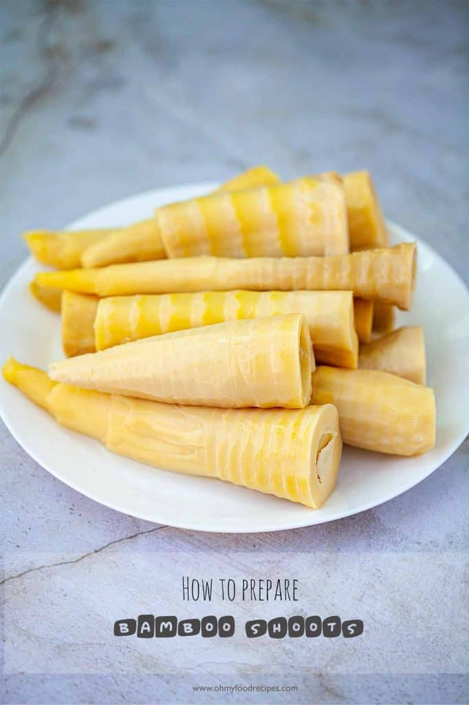 boiled fresh bamboo shoots on a white plate