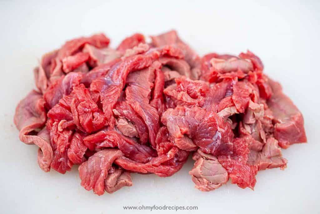 sliced beef into strips