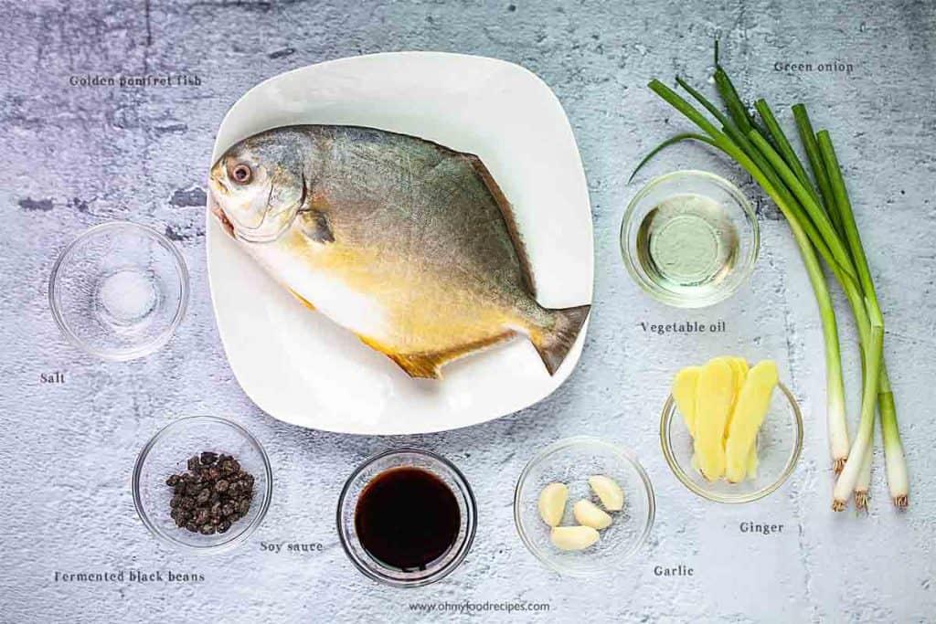 steam golden pomfret fish ingredients
