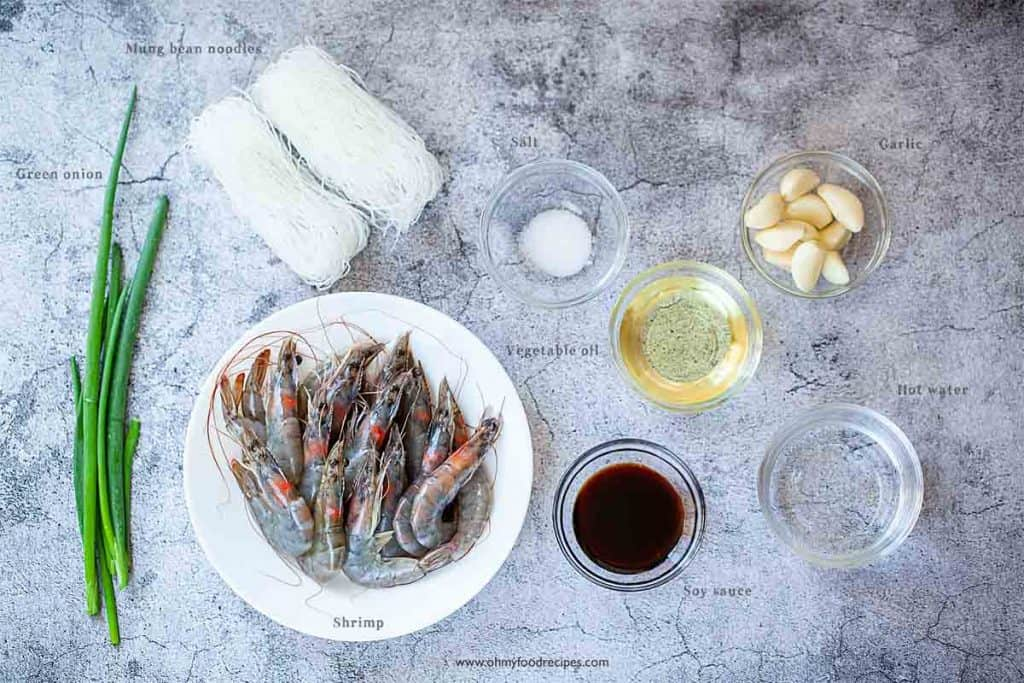 Chinese steamed shrimp ingredients