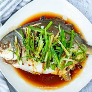 steam Chinese golden pomfret fish