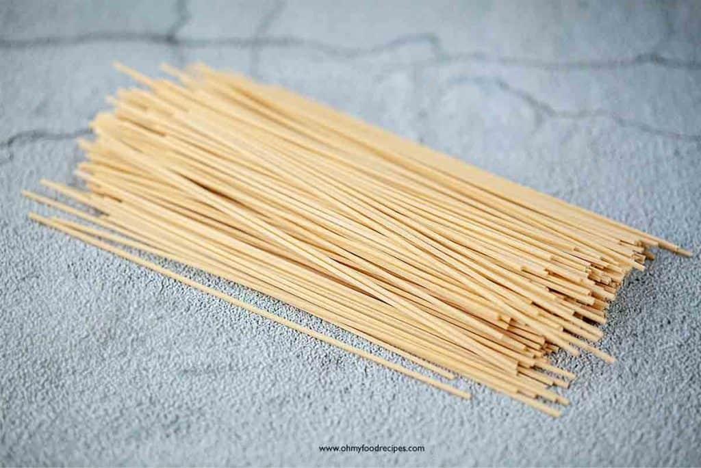 uncooked dry flour noodles