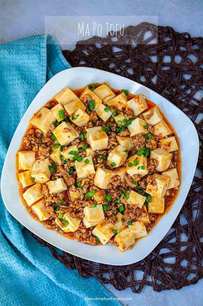 Mapo tofu dish top view