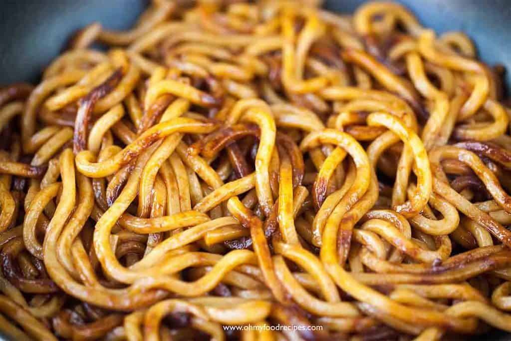 stir fried udon noodles with soy sauce