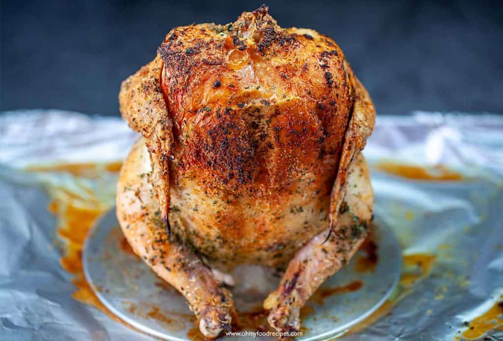 roasted or baked whole chicken on a stand (beer can style chicken)