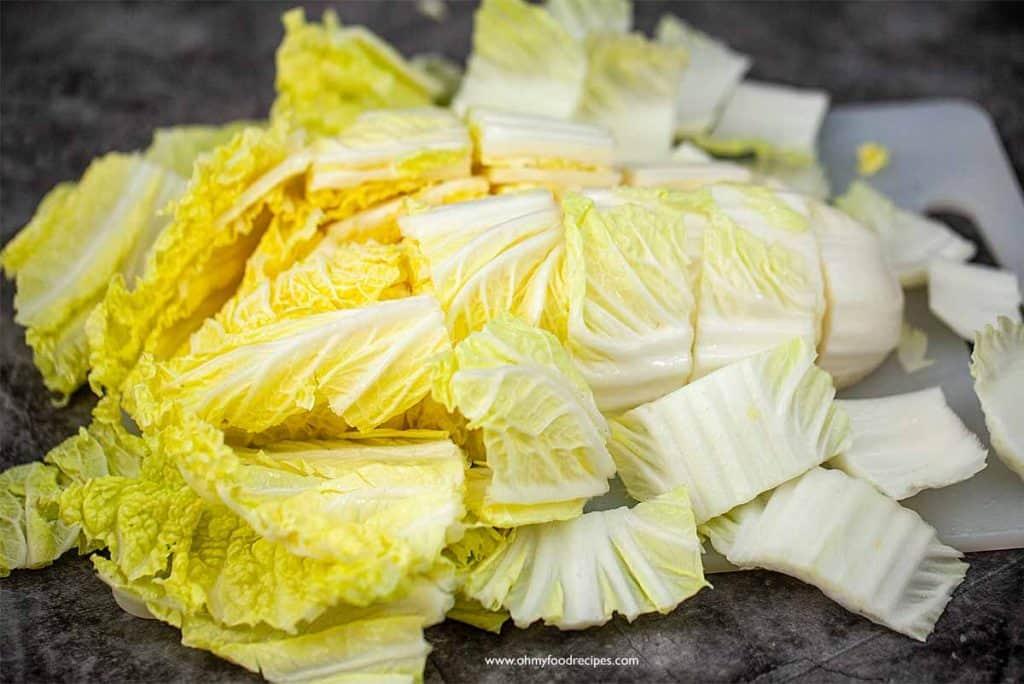 cut napa cabbage