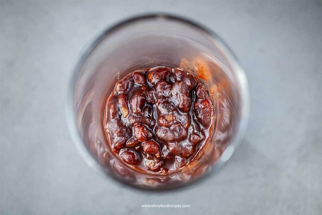 sweet adzuki beans in a glass cup
