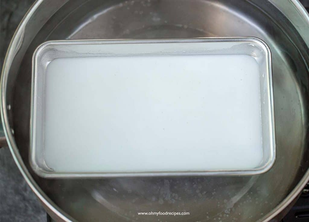 rice flour mixture on a tray and in a steamer