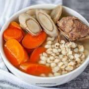 gobo soup with carrot, job's tear and pork bones