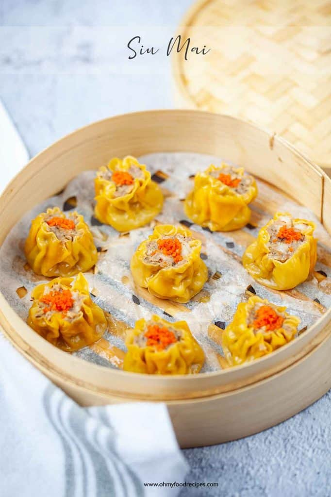 Siu mai or shumai steamed in a bamboo basket