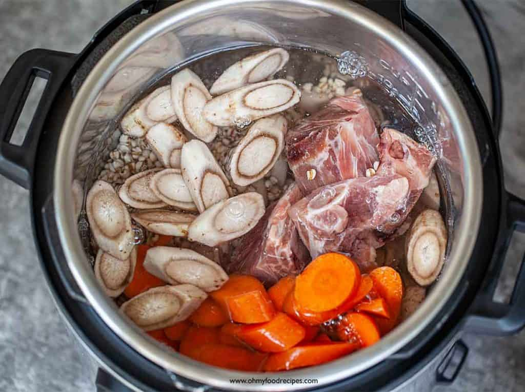 water added into instant pot with ingredients
