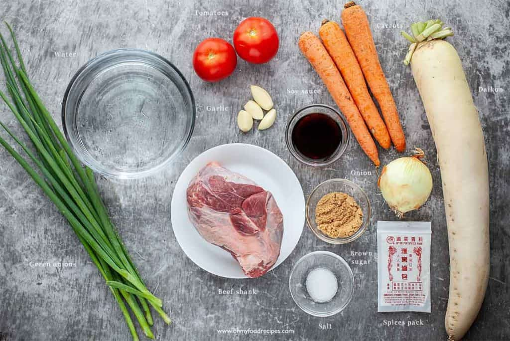 Taiwanese beef noodle soup ingredients