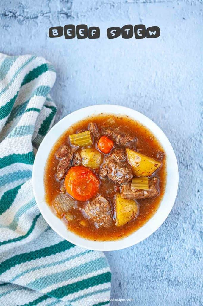 beef stew with vegetables top view
