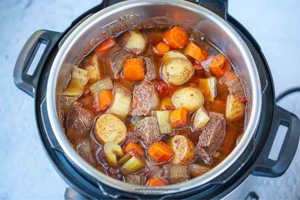 beef stew cooked in instant pot