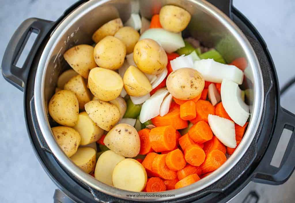 potatoes and vegetables in pressure cooker