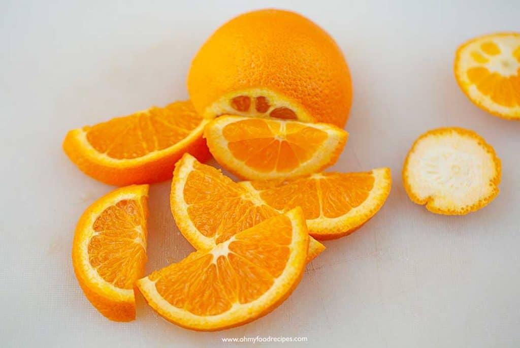 sliced orange on the chopping board