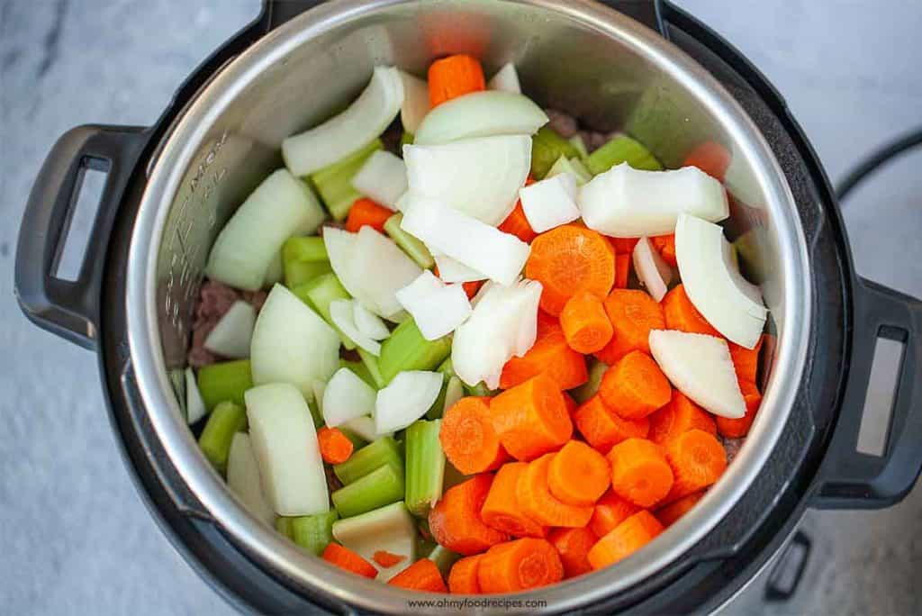 celery onion and carrot into instant pot