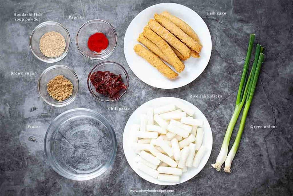 Korean spicy rice cake ingredients