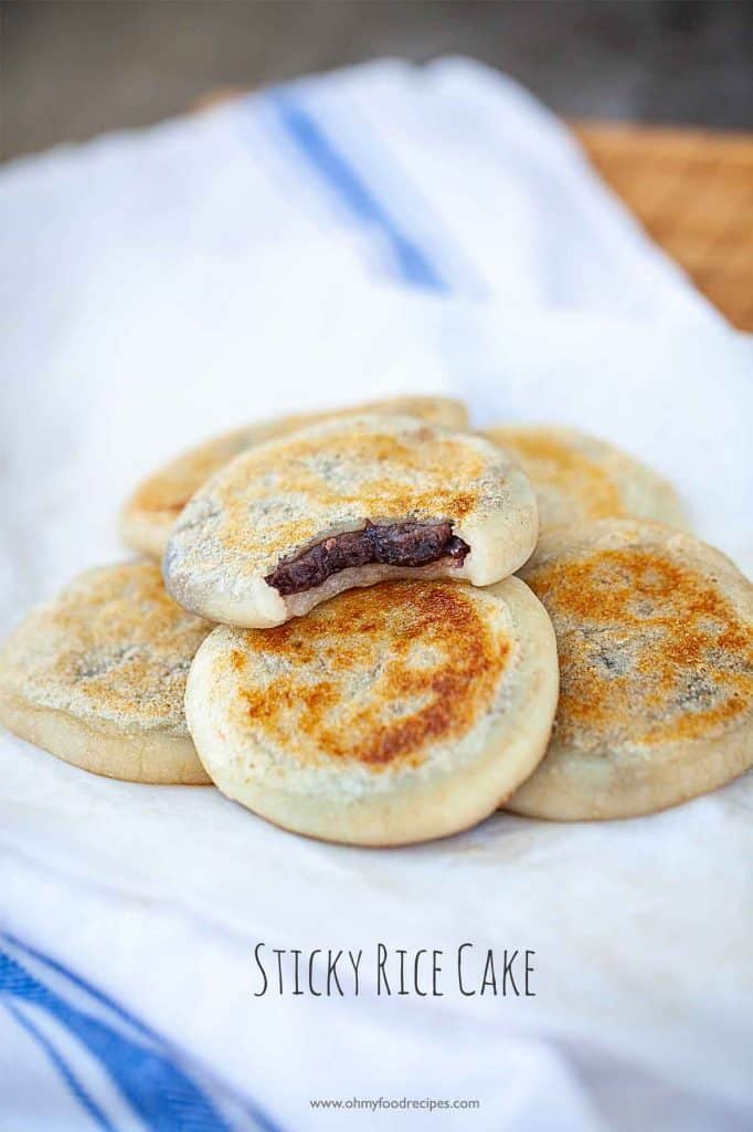 pan fried sticky rice cake with red bean paste or red bean glutinous rice cake