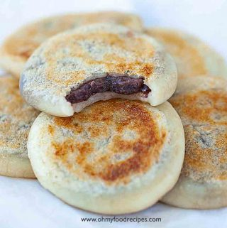 pan fried mochi or sticky rice cake with red bean paste