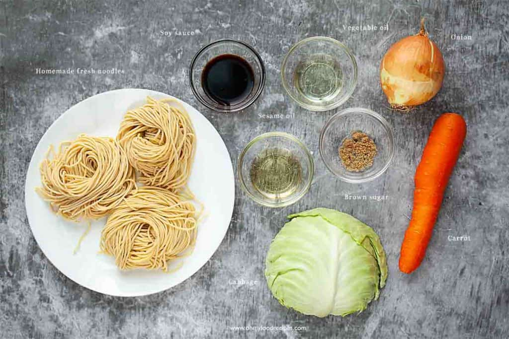 Chinese vegetable chow mein ingredients