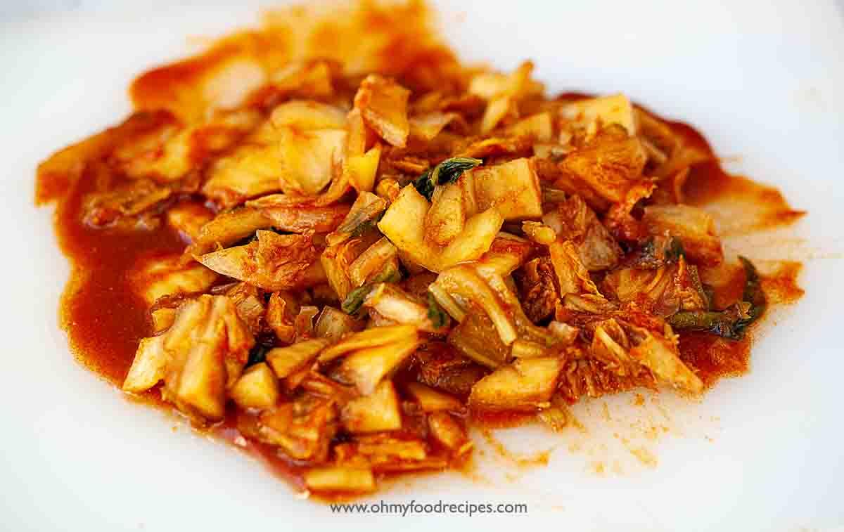 diced homemade kimchi