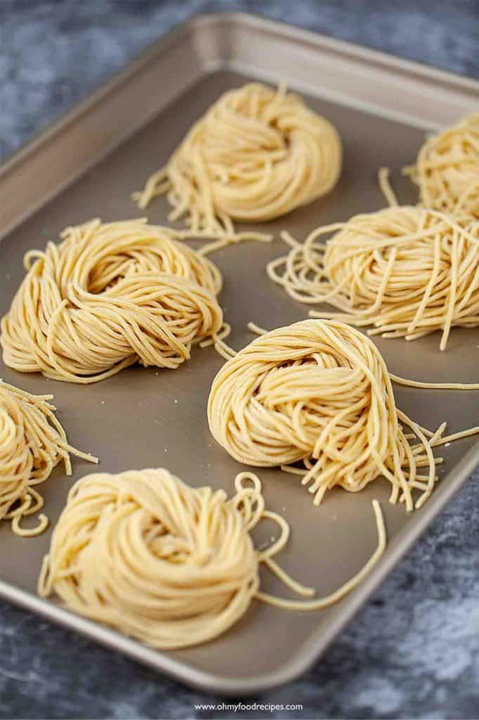 fresh homemade ramen noodles on the tray
