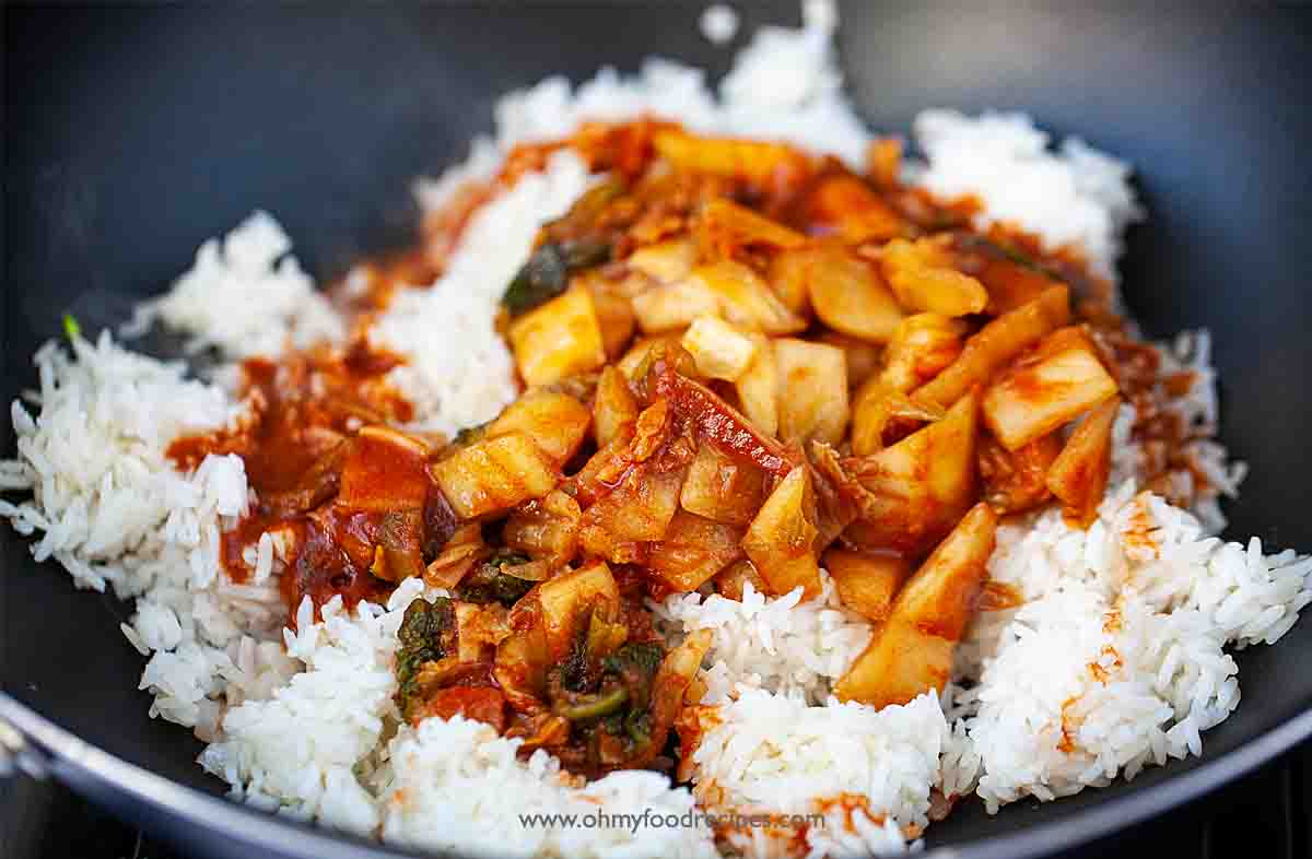 homemade kimchi and rice in the wok