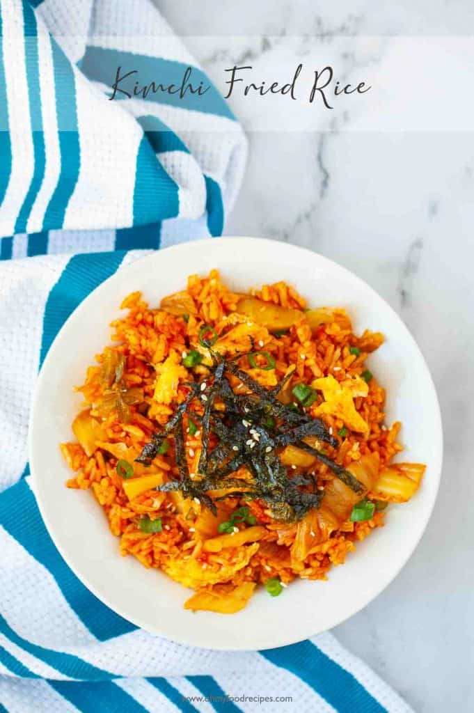 kimchi fried rice top view with blue striped towel