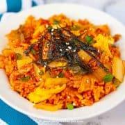 Korean easy kimchi fried rice close up