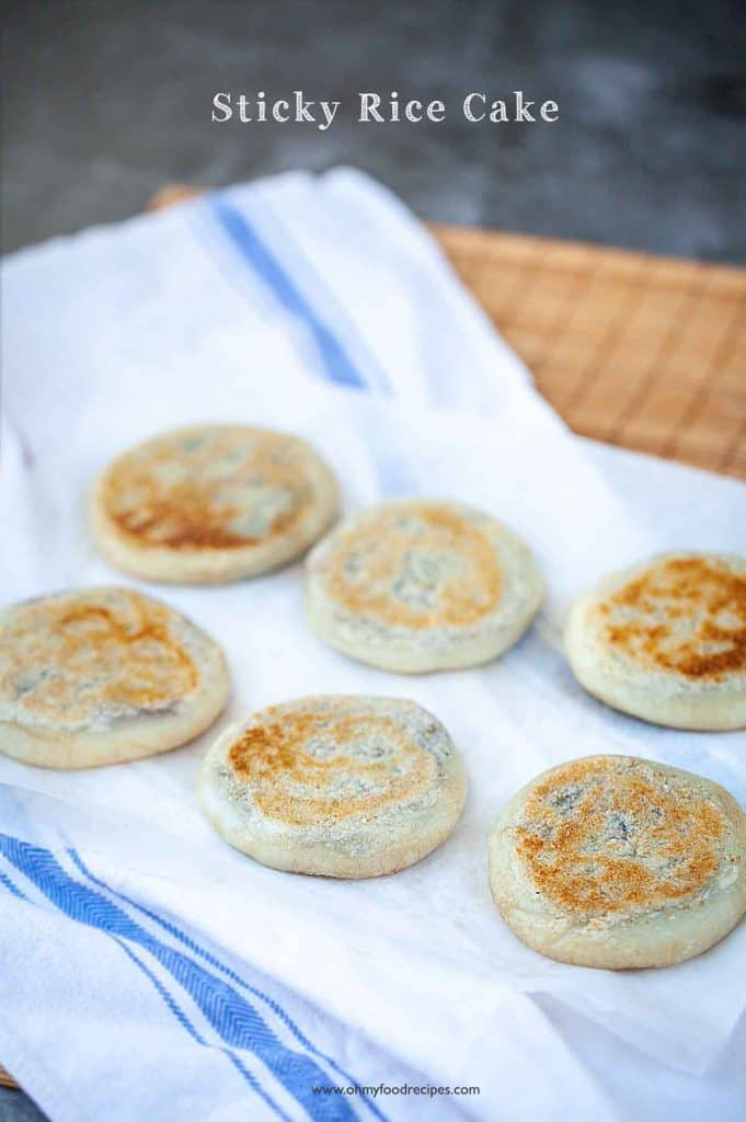 6 pan fried mochi or pan fried red bean paste rice cakes on a towel