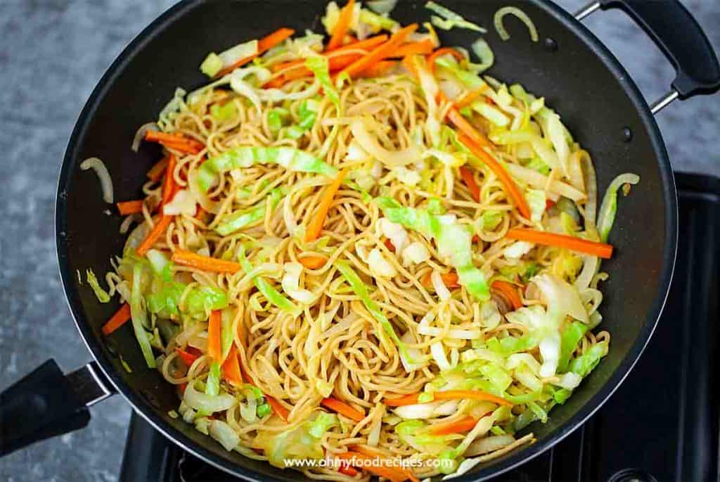 Chinese vegetable chow mein in the work stir fry