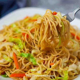 vegetable chow mein on the silver fork