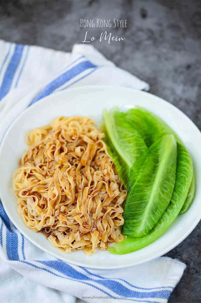 authentic Hong Kong style oyster sauce lo mein with lettuce