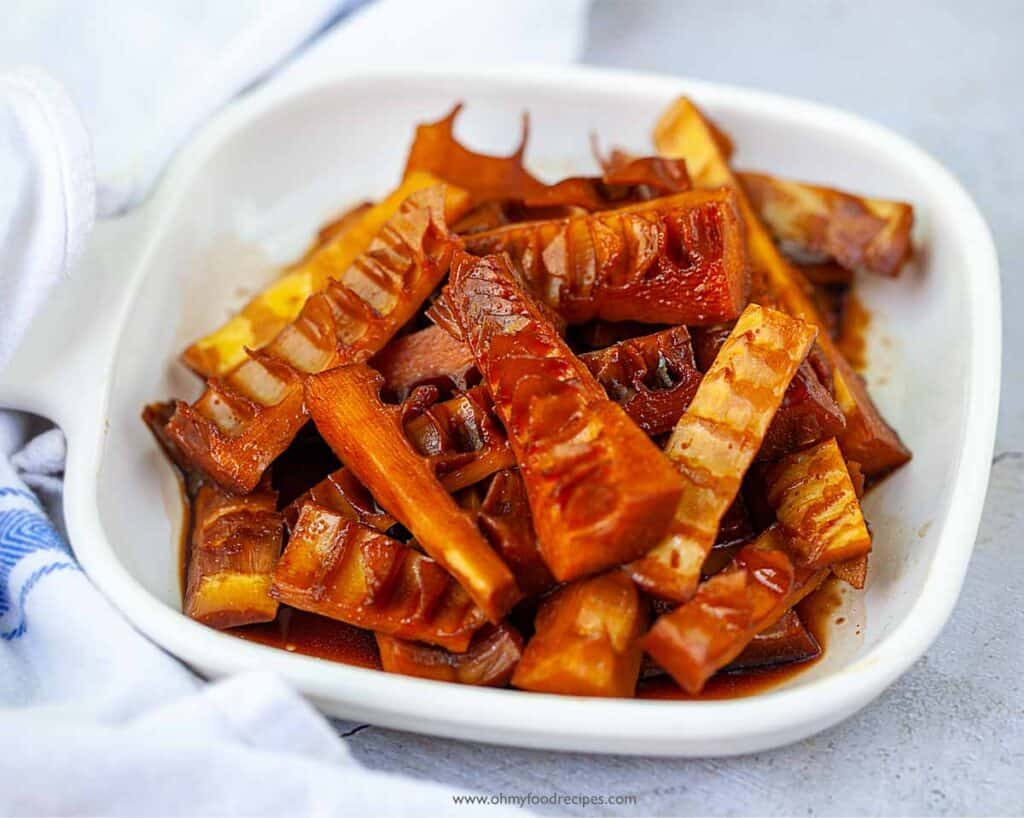 Braised bamboo shoots on a white plate