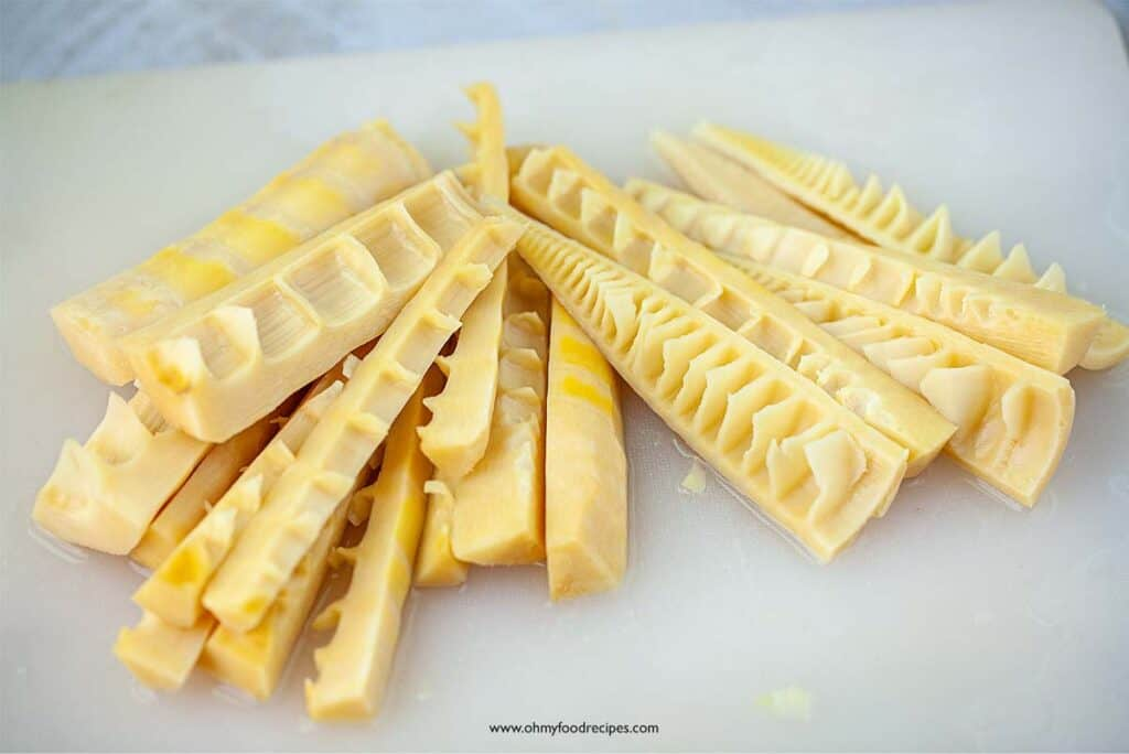 sliced cooked bamboo shoots