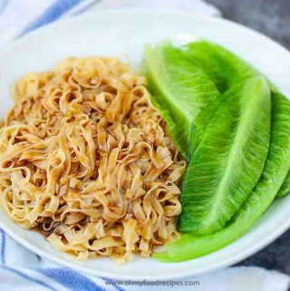Authentic Chinese Hong Kong style oyster sauce lo mein with lettuce