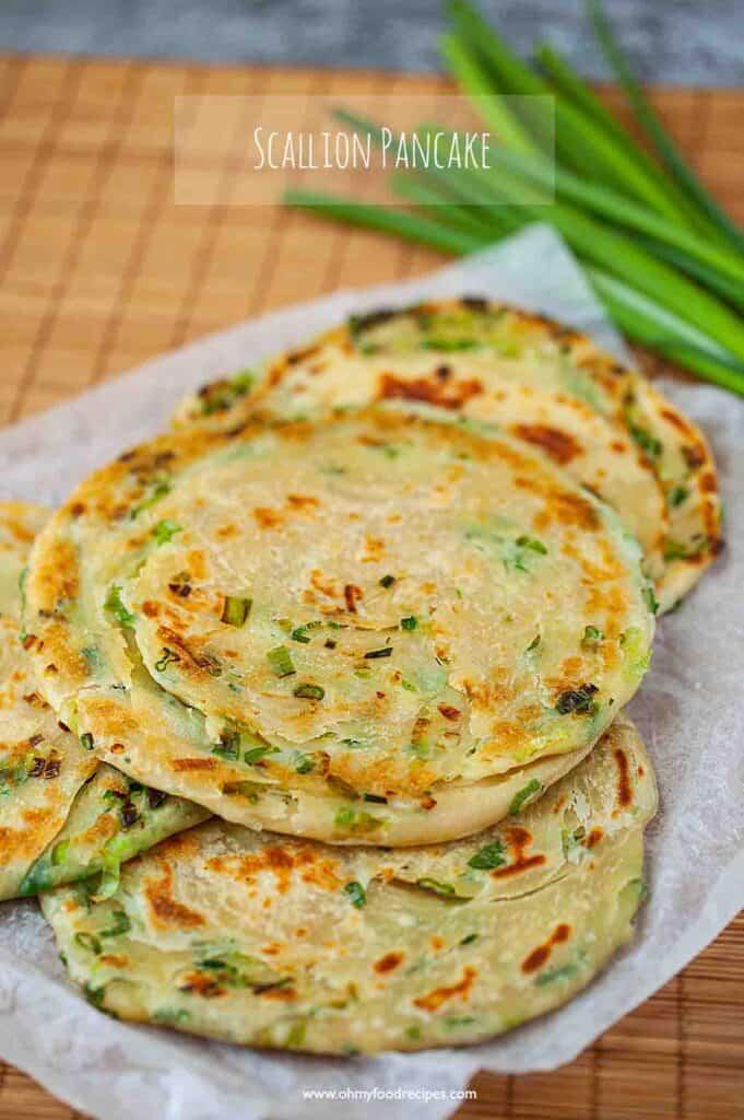 circle pan fried Chinese scallion green onion pancakes