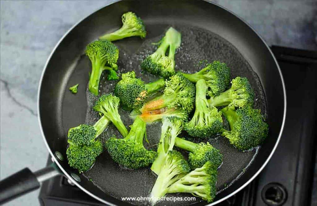 broccoli cooking in the pan
