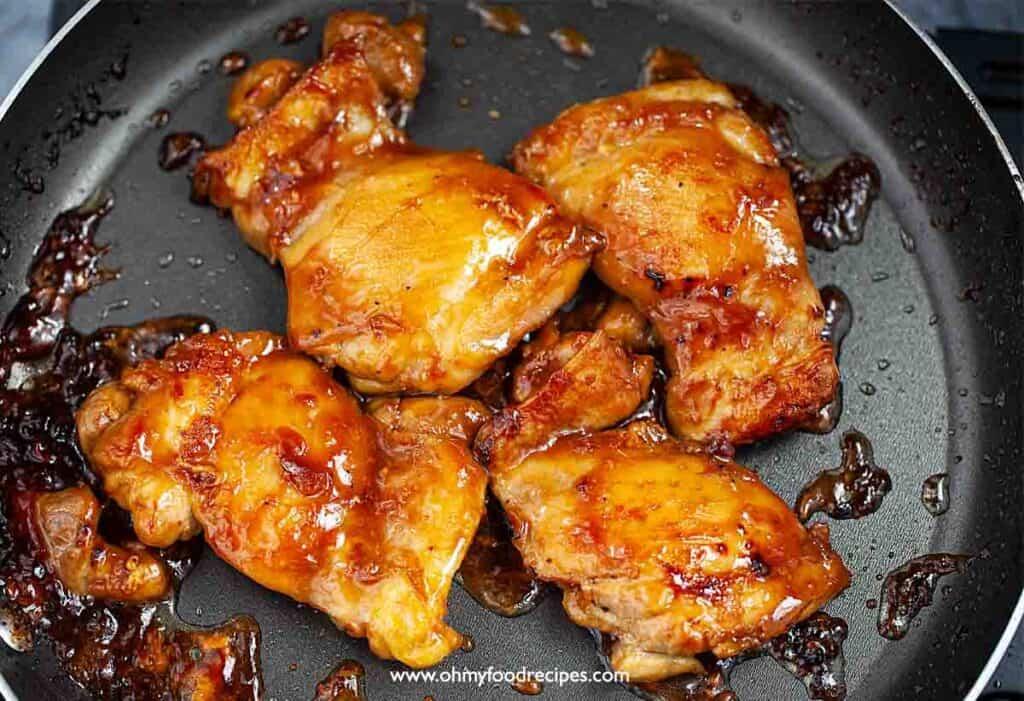 pan fried teriyaki chicken things in the non-stick pan