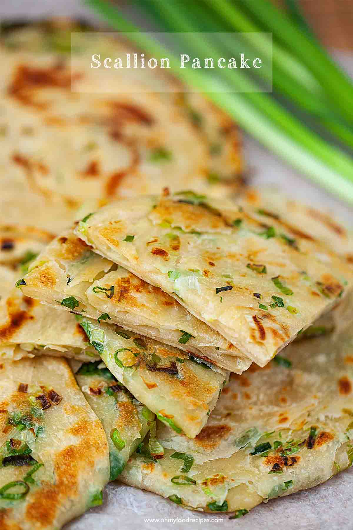 Scallion pancakes cut and stack up