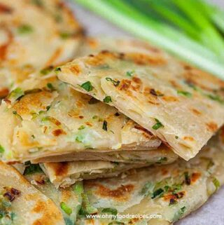 pan fried Chinese scallion green onion pancakes cut and stack up
